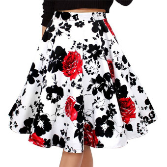 Hequ Hepburn Style Vintage Retro Floral Print High Waist PleatedSwing Skirts (Red) - Intl