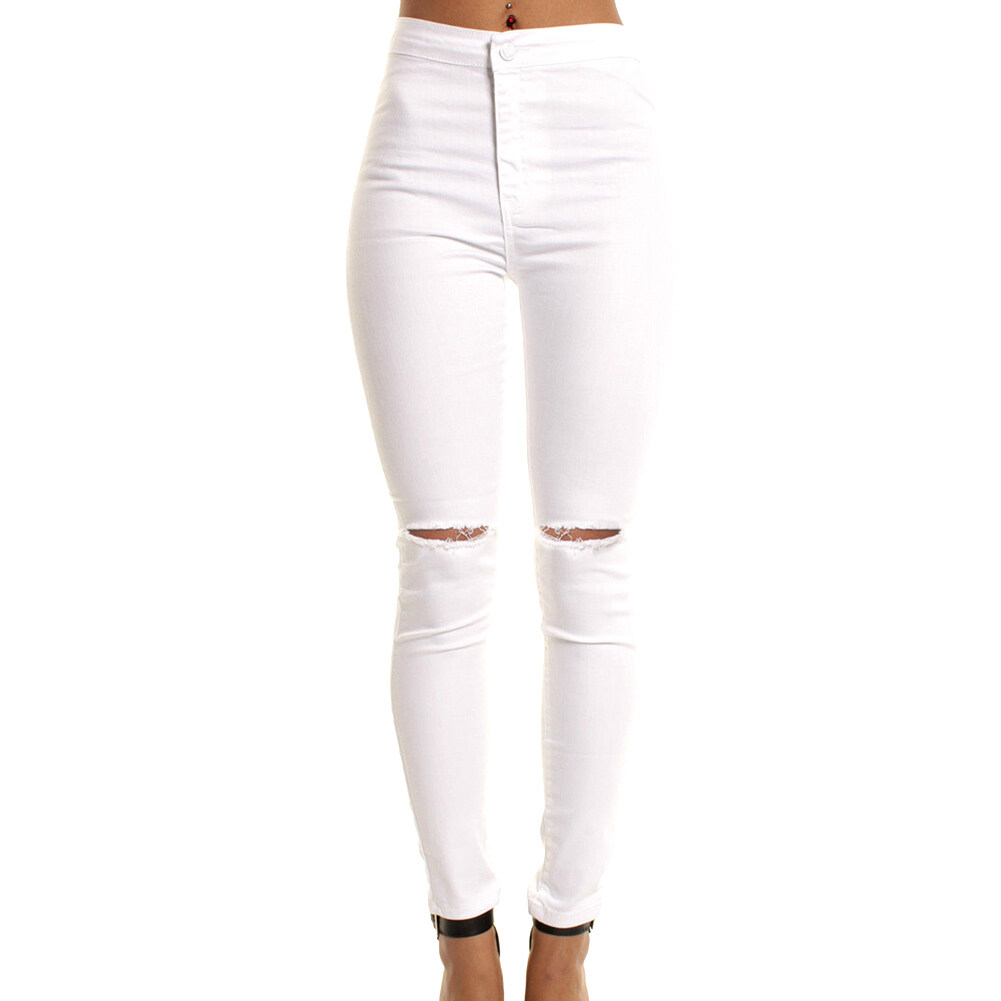 Hequ Tinggi Pinggang Kurus Modis Pacar Jeans untuk Wanita Lubang Antik Perempuan Ramping Ripped Denim Celana Pensil-Internasional