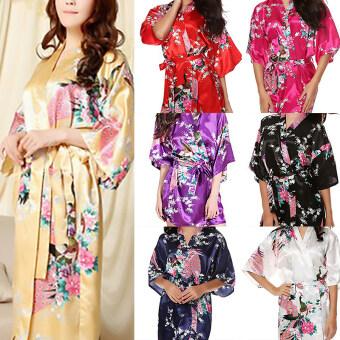 Hequ Silk Womens Robe Wedding Gown Robes For Bridesmaids NightgownSleepwear Night Dress White - 2