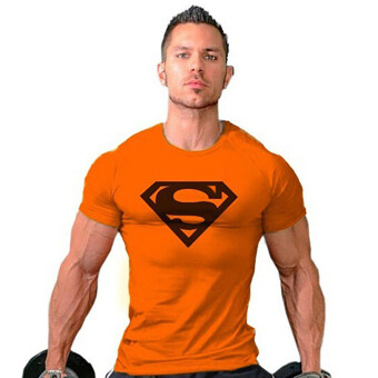 Hequ Superman Gym Singlets Bodybuilding Fitness T-shirt (Orange) -Intl