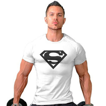 Hequ Superman Gym Singlets Bodybuilding Fitness T-shirt (White) -Intl