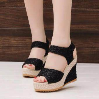Harga High Heel Lady Sandals Shoes Women Platform Peep Toe Wedge SandalsSexy Shoes (Black)