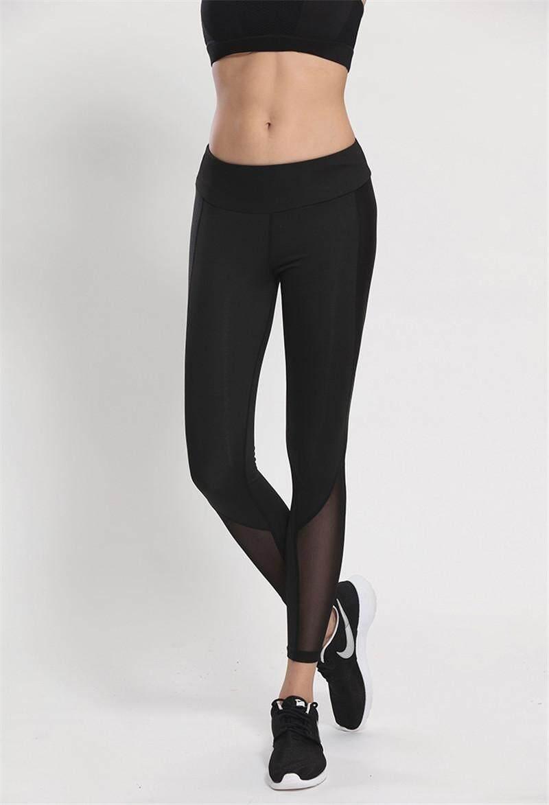 Berkualitas Tinggi Wanita Wanita Olahraga Celana Jaring Jahitan Him Kering Kebugaran Lari Celana Kebugaran Yoga Celana-Hitam-Internasional