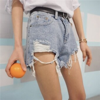 High waisted New style does not rule hole straight denim wide leg pants