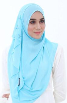 Hijab Fesyen Delaila Instant Shawl 2 Loops Lake Blue