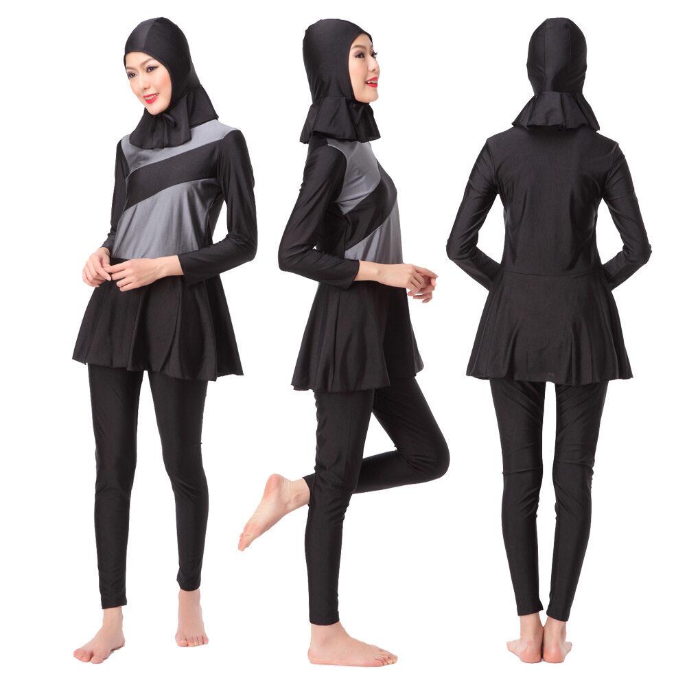 HK Mall Wanita Muslim Baju Renang Rashguard Atasan Celana Jilbab 3 Pcs Set Panjang Lengan Muslim Beachwear Penuh Penutup Islam swimsuits Arab-Internasional