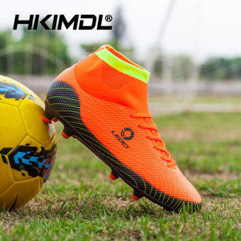 HKIMDL Men Kids Waterproof Artificial Leather Football Boots Light-wearing Football Shoes Lace-up