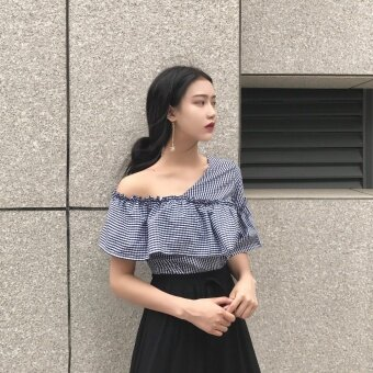 Hong Kong flavor retro chic style fashion oblique shoulder lotusleaf edge does not rule short-sleeved shirt wild temperamentstriped Top