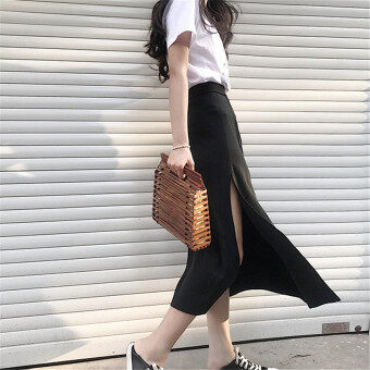 Hong Kong flavor slit New style high waist a word long skirt