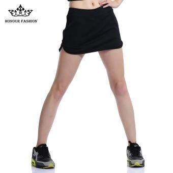 Honour Fashion Women's Flat Tennis Skort Hugging Skirt Black hf04 - 3