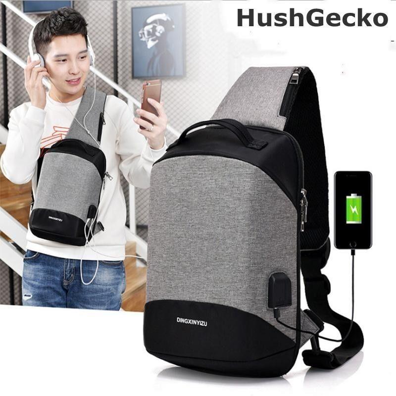 ซื้อ Hushgecko Dingxinyizu 2018New Men Usb Design High Capacity Chest Bags Anti Theft Man Crossbody Bag Waterproof Male Casual Travel Shoulder Bags Intl