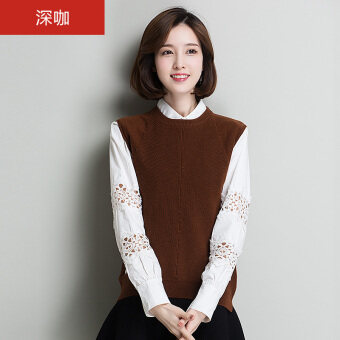 HYX pure wool female round neck sleeveless yarn wool shirt New style sweater (Deep coffee)