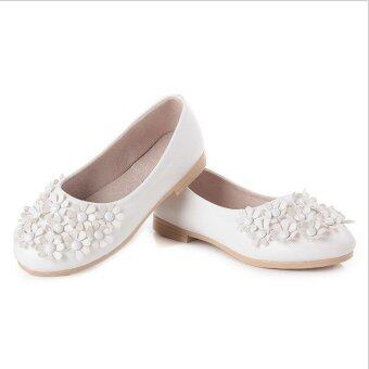 Harga I01 White New Fashion Princess Flowers Girls Shoes Children CuteRivet Leather Shoes Rubber Sole Size:26-36