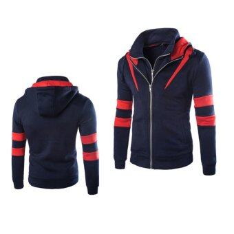 Harga Men's new Slim hooded sweater oblique spell color hit color fake two coat