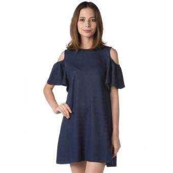 Harga Nichii Cold Shoulder Ruffle Shift SL Knee Length Dress (Navy Blue)