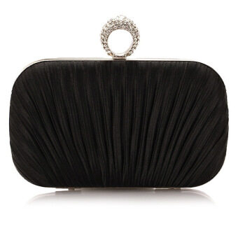Harga New Fashion Dinner Hand Bag Mini Folded Auger Bag Black