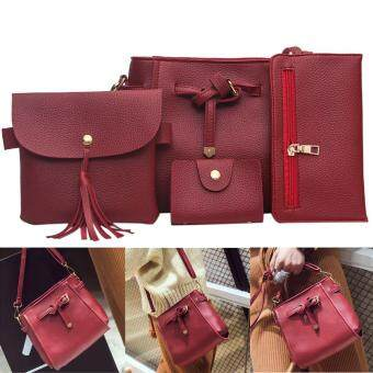 Harga 4pcs New Women PU Leather Wallet Lace-up Shoulder Bag Card Phone Hold (Wine Red)
