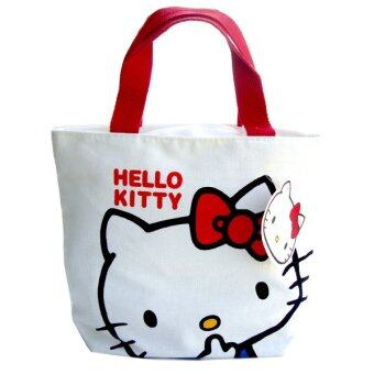 Harga Lulugift Cute Cat Kawaii Canvas Multiple Use White Shopping Bag