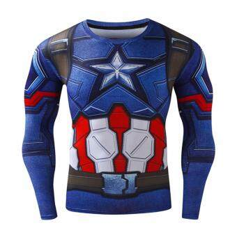 Harga Men's Compression Fitness Shirt ,Captain America Printing Sports T-shirt