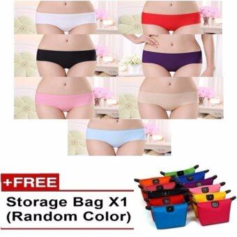 Harga 7Pcs ICY Ice Silk Seamless Panties Waist Flatten Tummy and Hips Lifting Slimming FREE Bag