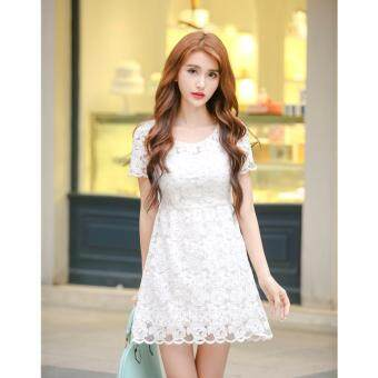 Harga Korean Style Midi Dress - C110 - 5778 - White