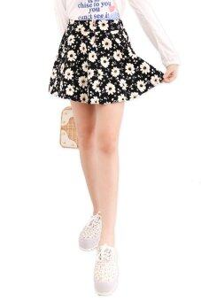 Harga LuvClo Kawaii Floral Printed Front-Zip Skirt (Black)