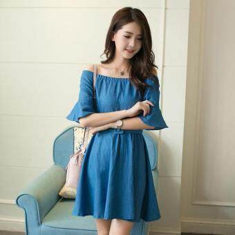 Harga JYS Fashion: Korean Style Midi Dress - Collection 97 8427-Sky Blue