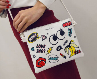 Harga Hip Hop Print PU Shoulder Messenger Bag(Fruit Party)