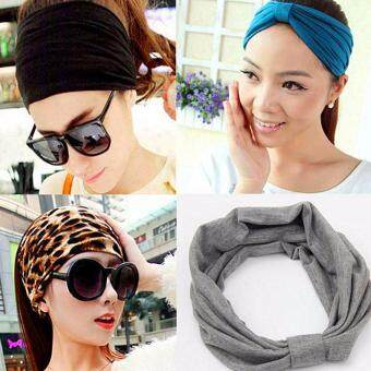Harga 3PCS South Korea Korean color exaggerated broadside hoop Cotton Headband Headdress hair accessories female hairpin(Red)
