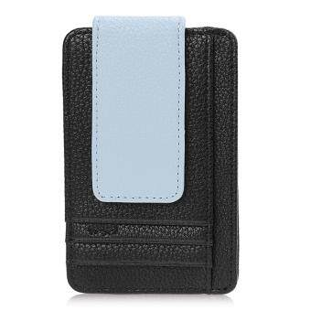 Harga MG Fashion Men's Leather Credit Card ID Holder Money Clip Wallet (Black)