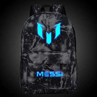 Harga 18.5inch Black Lightning Barca Backpack Lionel Messi Glow Backpack Luminous Printing Backpack Star School Bags for Teenagers