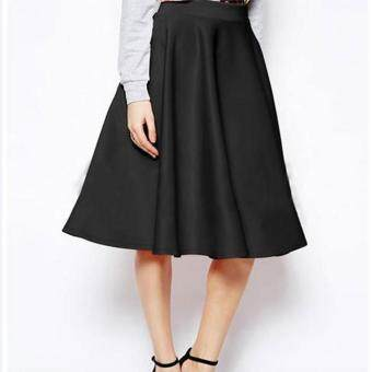 Harga MG Lady High Waist Pure Color Calf-Length Party Slim Pleated Skirt(Black)