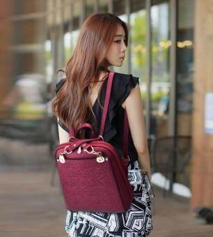 Harga SMINICA High Quality Backpack Women 2017 Oxford Embossed Fashion Black Brand Back Pack School Bag For Teenagers Girls Bagpack(Burgundy)