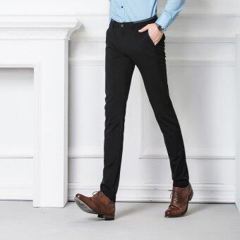 Harga Men Fashion Casual Slim Straight-fit Flat-Front Business Pants