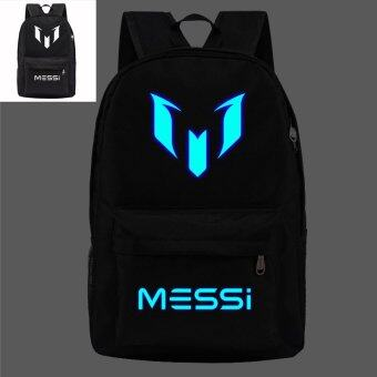 Harga 18.5inch Black Barca Backpack Lionel Messi Glow Backpack Luminous Printing Backpack Star School Bags for Teenagers