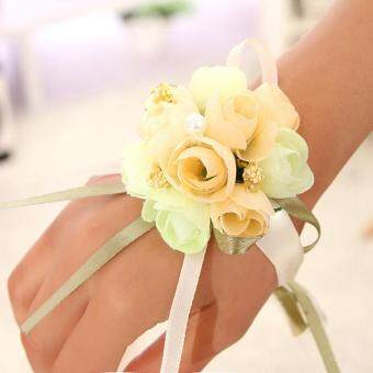 Harga Bridesmaid Bride Wedding Supplies Wrist Corsage Party Prom Ribbon Hand Flower Decor Champagne