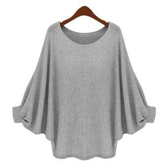 Harga MG O-Neck Batwing Sleeve Long Loose Pullover Sweater Top Blouse(Grey)