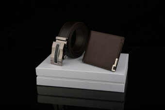 Harga Dante Set of 2 Premium Leather Automatic Buckle Men's Belt + Wallet 881 (Brown)