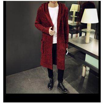 Harga Fashion Men Hoodies Coats Long Sleeve Knitted Cardigans Cotton Slim Long Casual Jacket (Red)