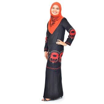 Harga Cotton & Silk Baju Kurung Moden - Cotton Embroidery - 1181 - A9 (Black)