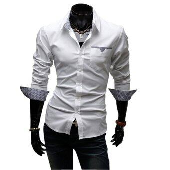 Harga Fashion Brand Men Clothes Slim Fit Men Long Sleeve shirt men pure color Casual shirt White