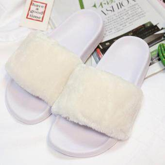 Harga Women Furry Slide Slip On Slipper-White