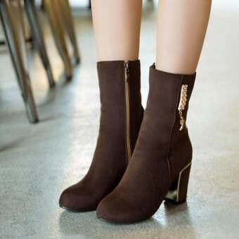 Harga Dark Brown Ankle Boots (34--43)