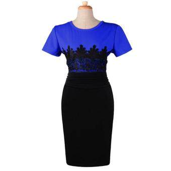 Harga MG Ladies Lace Splicing Evening Pencil Knee-Length Midi Bodycon Dress(Blue)