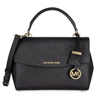 Harga Michael Kors Ava Saffiano Leather Crossbody Satchel - Black