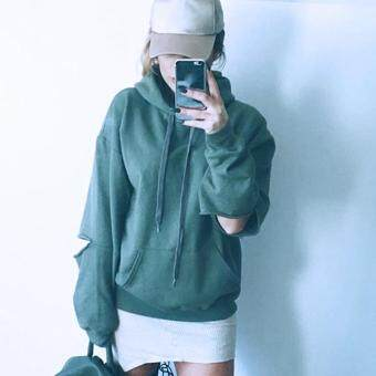Harga Jo.In New Fashion Women Casual Long Sleeve Solid Ripped Hole Pullover Hooded Hoodies Sweatshirts