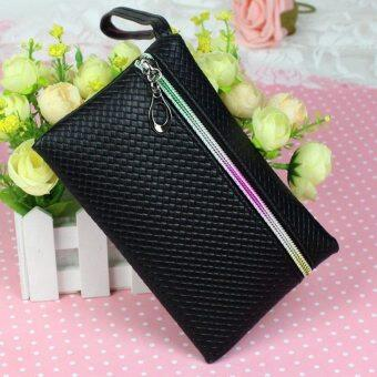 Harga New Women Multi-function PU Purse Key Phone Coin Wallet Cabinet Makeup Wristlets Bag (Black)