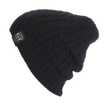 Harga MG New Unisex Ribbed Weave Women Men Beanie Hat Warm Knit Hat (Black)