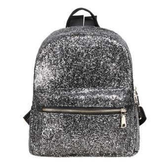Harga MG Fashion Sequins Zipper PU Backpacks Bag (Black)