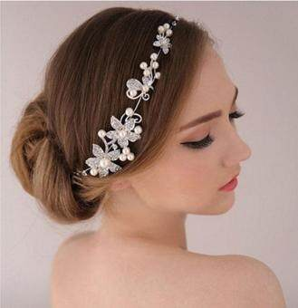 Harga MG Fashion Women Beads Rhinestone Flower Wedding Bride Bridal Party Headband Hair Pieces